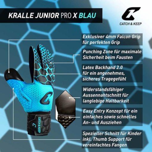 Kralle_Junior_Pro_3.0_Blau_Catch_and_Keep_Kinder_Torwarthandschuh